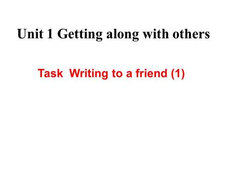 Unit 1 Getting along with others Task Writing to a friend (1)