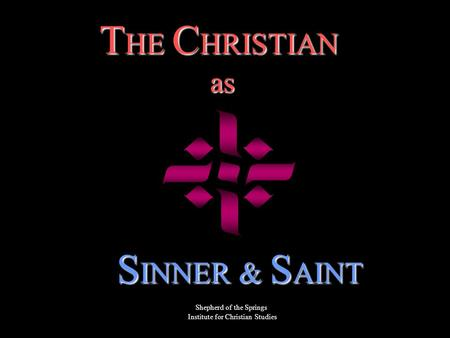 T HE C HRISTIAN as as S INNER & S AINT Shepherd of the Springs Institute for Christian Studies.