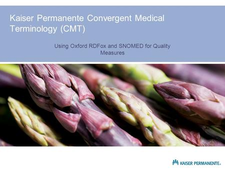 Kaiser Permanente Convergent Medical Terminology (CMT) Using Oxford RDFox and SNOMED for Quality Measures.
