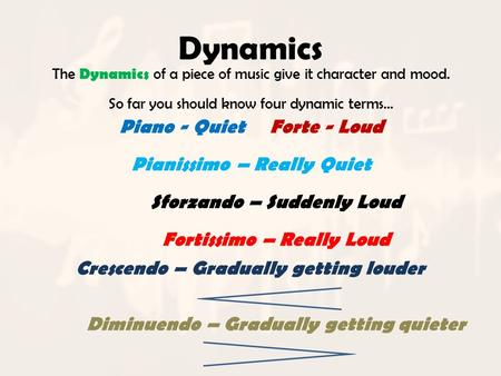 Dynamics The Dynamics of a piece of music give it character and mood. So far you should know four dynamic terms… Piano - QuietForte - Loud Pianissimo –