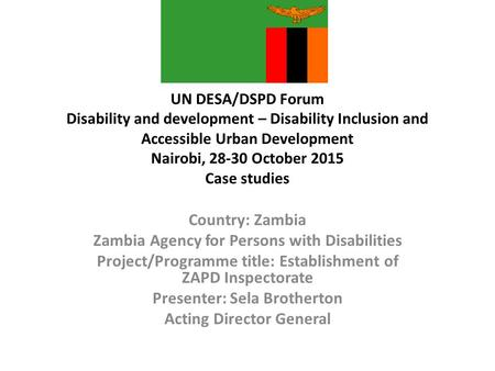 UN DESA/DSPD Forum Disability and development – Disability Inclusion and Accessible Urban Development Nairobi, 28-30 October 2015 Case studies Country:
