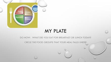 MY PLATE DO NOW: WHAT DID YOU EAT FOR BREAKFAST OR LUNCH TODAY? CIRCLE THE FOOD GROUPS THAT YOUR MEAL FALLS UNDER.