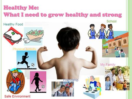 Healthy Me: What I need to grow healthy and strong Healthy Food Physical Activity Safe Environment Friendship School My Family.