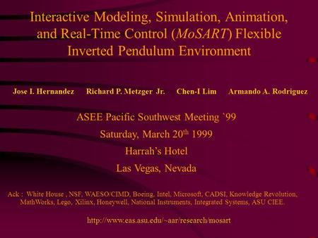 Interactive Modeling, Simulation, Animation, and Real-Time Control (MoSART) Flexible Inverted Pendulum Environment