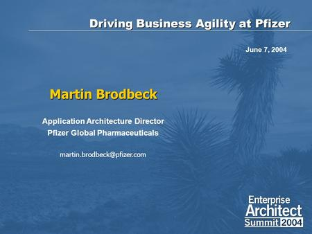 Driving Business Agility at Pfizer Martin Brodbeck Application Architecture Director Pfizer Global Pharmaceuticals June 7, 2004.