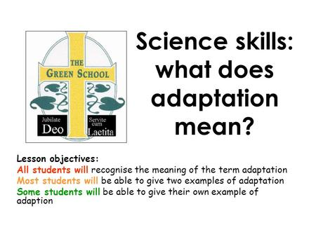 Science skills: what does adaptation mean? Lesson objectives: All students will recognise the meaning of the term adaptation Most students will be able.