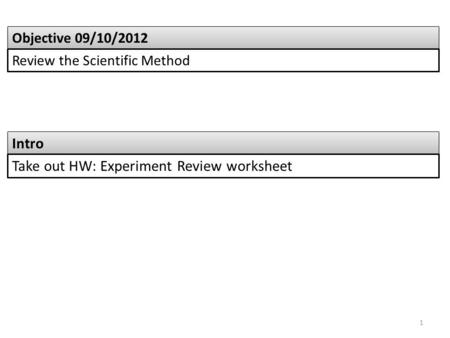 Intro Objective 09/10/2012 Review the Scientific Method Take out HW: Experiment Review worksheet 1.