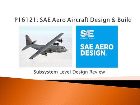 Subsystem Level Design Review.  Project Review  System Level Changes ◦ Tail Dragger ◦ Airfoil Change and Discussion  Subsystem Selection ◦ Fuselage.