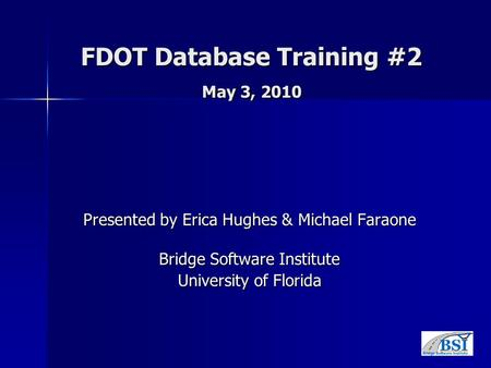 FDOT Database Training #2 May 3, 2010 Presented by Erica Hughes & Michael Faraone Bridge Software Institute University of Florida.