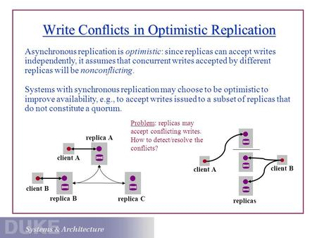 Write Conflicts in Optimistic Replication Problem: replicas may accept conflicting writes. How to detect/resolve the conflicts? client B client A replica.