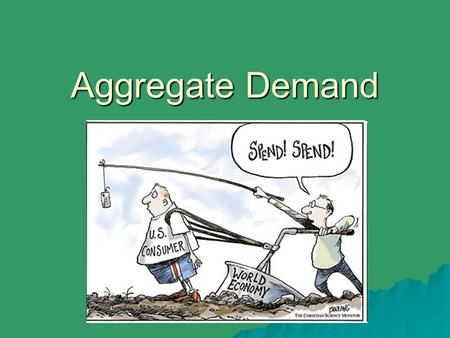 Aggregate Demand. Supply and Demand Nationally  In microeconomics, supply and demand show just one industry (e.g., sodas, iPods, cell phones)  Macroeconomics.
