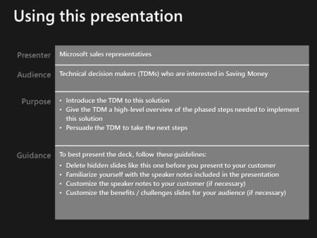 Presenter Microsoft sales representatives Audience Technical decision makers (TDMs) who are interested in Saving Money Purpose Introduce the TDM to this.