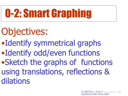 0-2: Smart Graphing Objectives: Identify symmetrical graphs