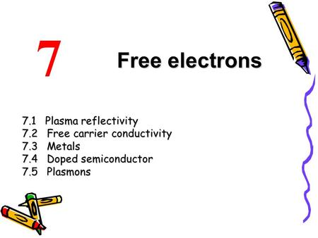 7 Free electrons 7.1 Plasma reflectivity 7.2 Free carrier conductivity