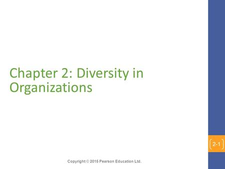 Chapter 2: Diversity in Organizations