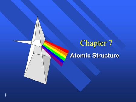 1 Chapter 7 Atomic Structure. 2 Light n Made up of electromagnetic radiation. n Waves of electric and magnetic fields at right angles to each other.