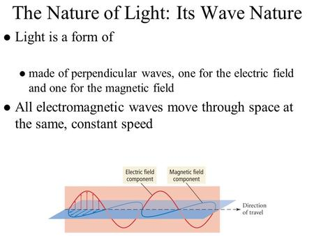 The Nature of Light: Its Wave Nature Light is a form of made of perpendicular waves, one for the electric field and one for the magnetic field All electromagnetic.
