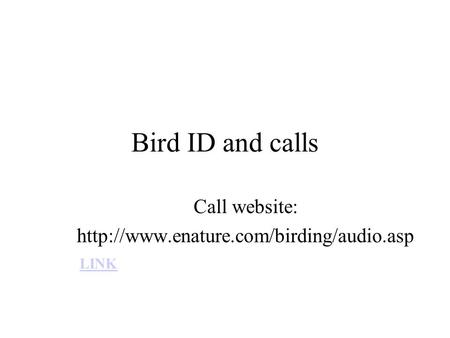 Call website: http://www.enature.com/birding/audio.asp Bird ID and calls Call website: http://www.enature.com/birding/audio.asp LINK.