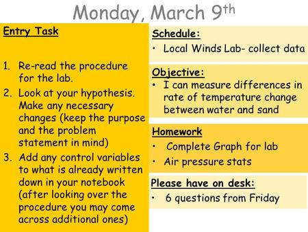 Monday, March 9 th Entry Task 1.Re-read the procedure for the lab. 2.Look at your hypothesis. Make any necessary changes (keep the purpose and the problem.