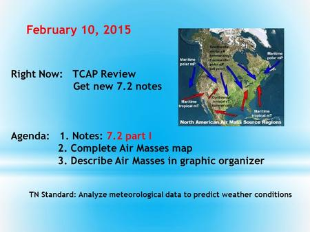 Right Now: TCAP Review Get new 7.2 notes Agenda: 1. Notes: 7.2 part I 2. Complete Air Masses map 3. Describe Air Masses in graphic organizer TN Standard: