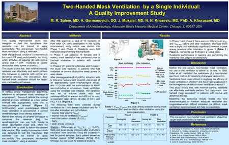 Two-Handed Mask Ventilation by a Single Individual: A Quality Improvement Study M. R. Salem, MD, A. Germanovich, DO, J. Mukalel, MD, N. N. Knezevic, MD,