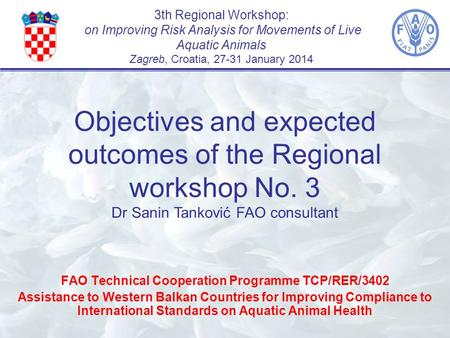 3th Regional Workshop: on Improving Risk Analysis for Movements of Live Aquatic Animals Zagreb, Croatia, 27-31 January 2014 FAO Technical Cooperation Programme.