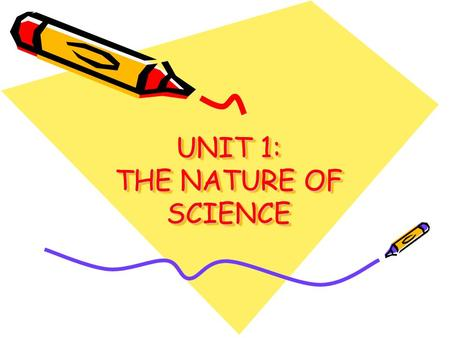 UNIT 1: THE NATURE OF SCIENCE. GOAL OF SCIENCE TO EXPLAIN AND UNDERSTAND THE WORLD AROUND US –TECHNOLOGY – USING SCIENTIFIC KNOWLEDGE AND TOOLS IN A USEFUL.