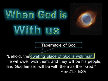 """Behold, the dwelling place of God is with man. He will dwell with them, and they will be his people, and God himself will be with them as their God."""