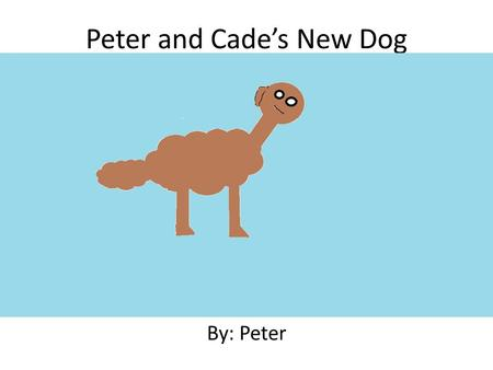 Peter and Cade's New Dog By: Peter Written and Illustrated By Peter.