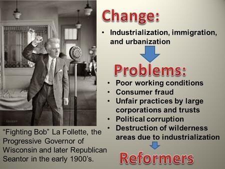 """Fighting Bob"" La Follette, the Progressive Governor of Wisconsin and later Republican Seantor in the early 1900's. Industrialization, immigration, and."