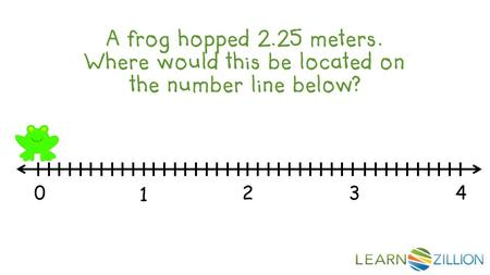 A frog hopped 2.25 meters. Where would this be located on the number line below? 0 1 2 3 4.