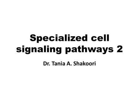Specialized cell signaling pathways 2