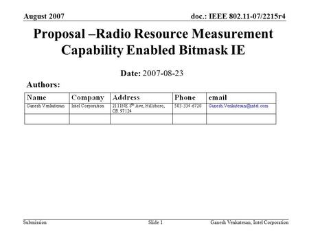 Doc.: IEEE 802.11-07/2215r4 Submission August 2007 Ganesh Venkatesan, Intel CorporationSlide 1 Proposal –Radio Resource Measurement Capability Enabled.