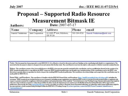 Doc.: IEEE 802.11-07/2215r1 Submission July 2007 Ganesh Venkatesan, Intel CorporationSlide 1 Proposal – Supported Radio Resource Measurement Bitmask IE.