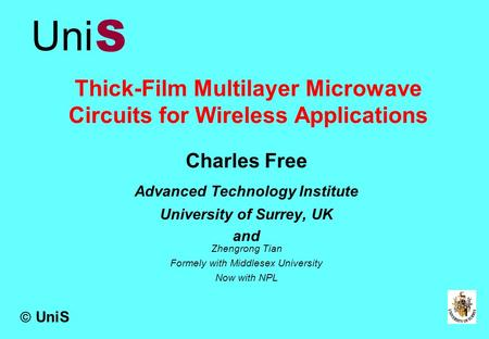 Thick-Film Multilayer Microwave Circuits for Wireless Applications