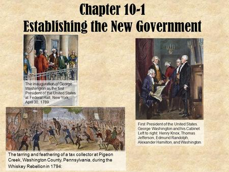 Chapter 10-1 Establishing the New Government The inauguration of George Washington as the first President of the United States at Federal Hall, New York,