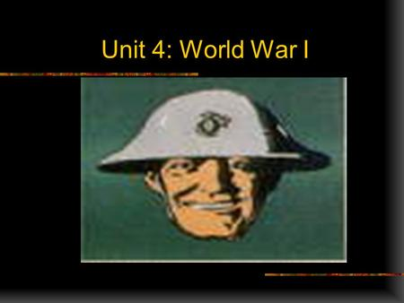 Unit 4: World War I Fighting Prejudice Airplanes Tanks Trenches deep ditches that soldiers stayed in Soldiers Death Desruction.