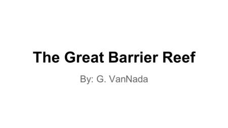 The Great Barrier Reef By: G. VanNada. How big is the reef? ●The Great Barrier Reef is the largest coral reef system composed. ●The Great Barrier Reef.