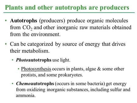 Autotrophs (producers) produce organic molecules from CO 2 and other inorganic raw materials obtained from the environment. Can be categorized by source.