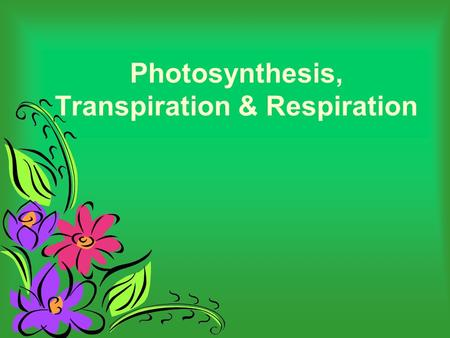 Photosynthesis, Transpiration & Respiration. What is Photosynthesis? The process of photosynthesis is a chemical reaction. It is the most important chemical.