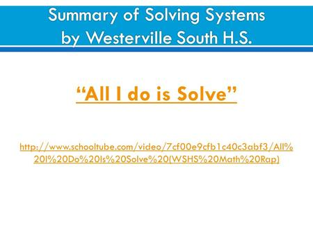 """All I do is Solve""  20I%20Do%20Is%20Solve%20(WSHS%20Math%20Rap)"