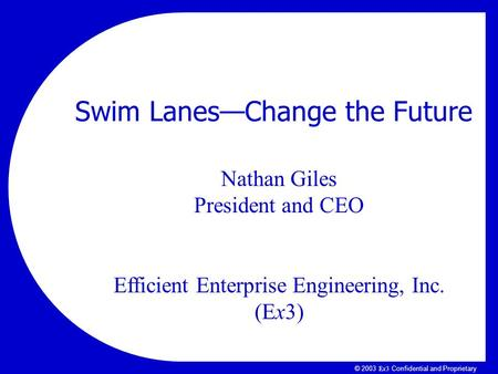 Ex3Ex3 © 2003 Ex3 Confidential and Proprietary Nathan Giles President and CEO Efficient Enterprise Engineering, Inc. (Ex3) Swim Lanes—Change the Future.