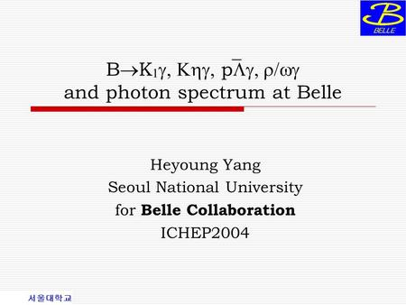 B  K   p  and photon spectrum at Belle Heyoung Yang Seoul National University for Belle Collaboration ICHEP2004.