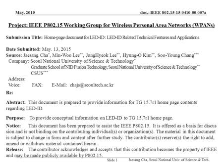 Project: IEEE P802.15 Working Group for Wireless Personal Area Networks (WPANs) Submission Title: Home-page document for LED-ID : LED-ID Related Technical.