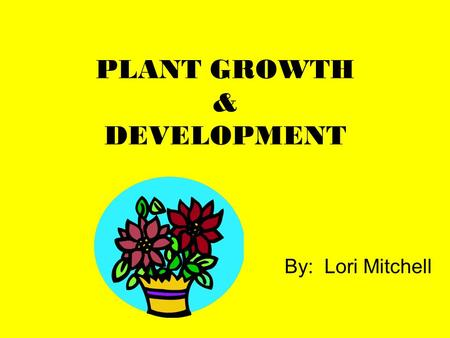 PLANT GROWTH & DEVELOPMENT By: Lori Mitchell. To Know a Plant, Grow a Plant Plant a seed In the mind and with the hand Use the five senses To engage and.