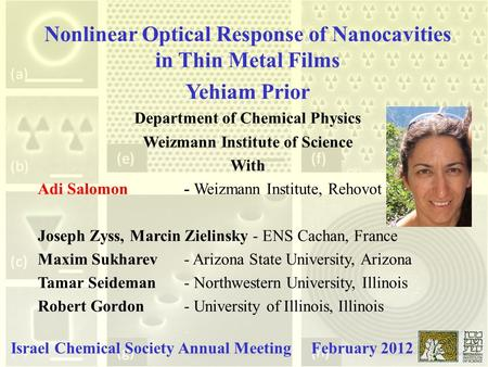 Nonlinear Optical Response of Nanocavities in Thin Metal Films Yehiam Prior Department of Chemical Physics Weizmann Institute of Science With Adi Salomon.