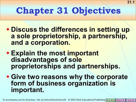 31.1 b a c kn e x t h o m e Chapter 31 Objectives  Discuss the differences in setting up a sole proprietorship, a partnership, and a corporation.  Explain.