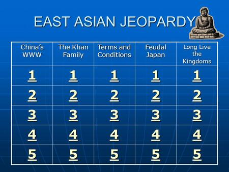 EAST ASIAN JEOPARDY China's WWW The Khan Family Terms and Conditions Feudal Japan Long Live the Kingdoms 1111 1111 1111 1111 1111 2222 2222 2222 2222.