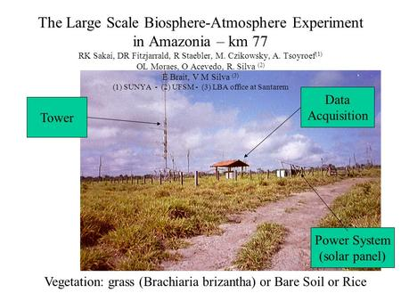 Vegetation: grass (Brachiaria brizantha) or Bare Soil or Rice Tower Data Acquisition Power System (solar panel) The Large Scale Biosphere-Atmosphere Experiment.