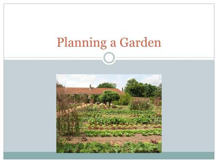 Planning a Garden. 7.01 – PLAN A GARDEN Research Plan for the location of the garden. Include  Sun  Shade  water  air.